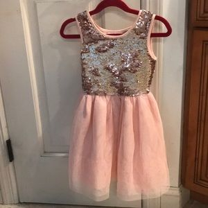 Girl's xs/4 Rose gold & pink sequin & tulle dress